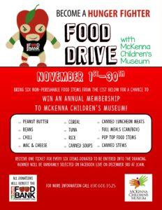 downtown new braunfels McKenna children's museum food drive