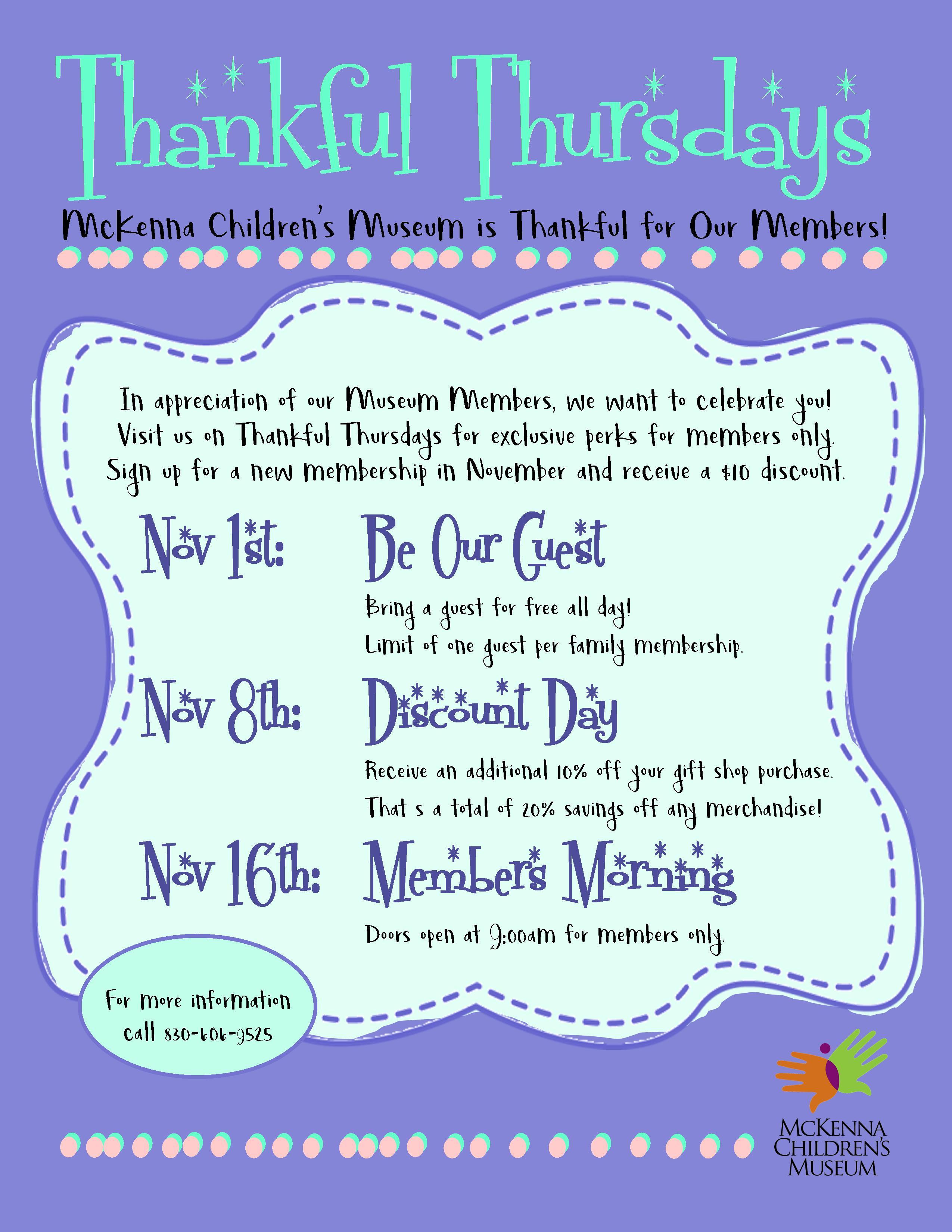 Downtown New Braunfels McKenna Children's Museum Thankful Thursdays