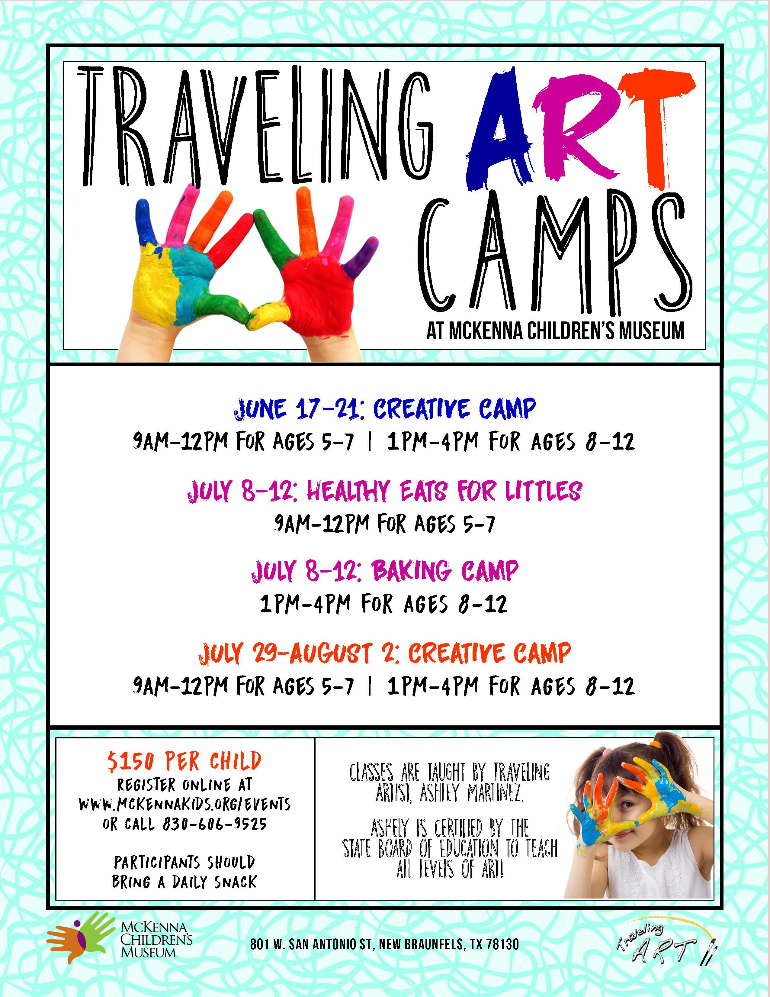 downtown New Braunfels traveling art camps